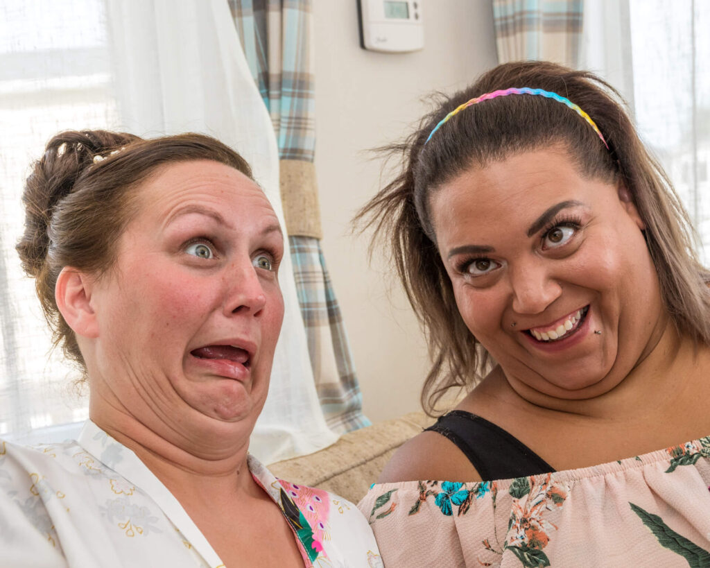 During the Bridal Preparations the Bride & her friend pull faces to amuse the others present, which they did very successfully.