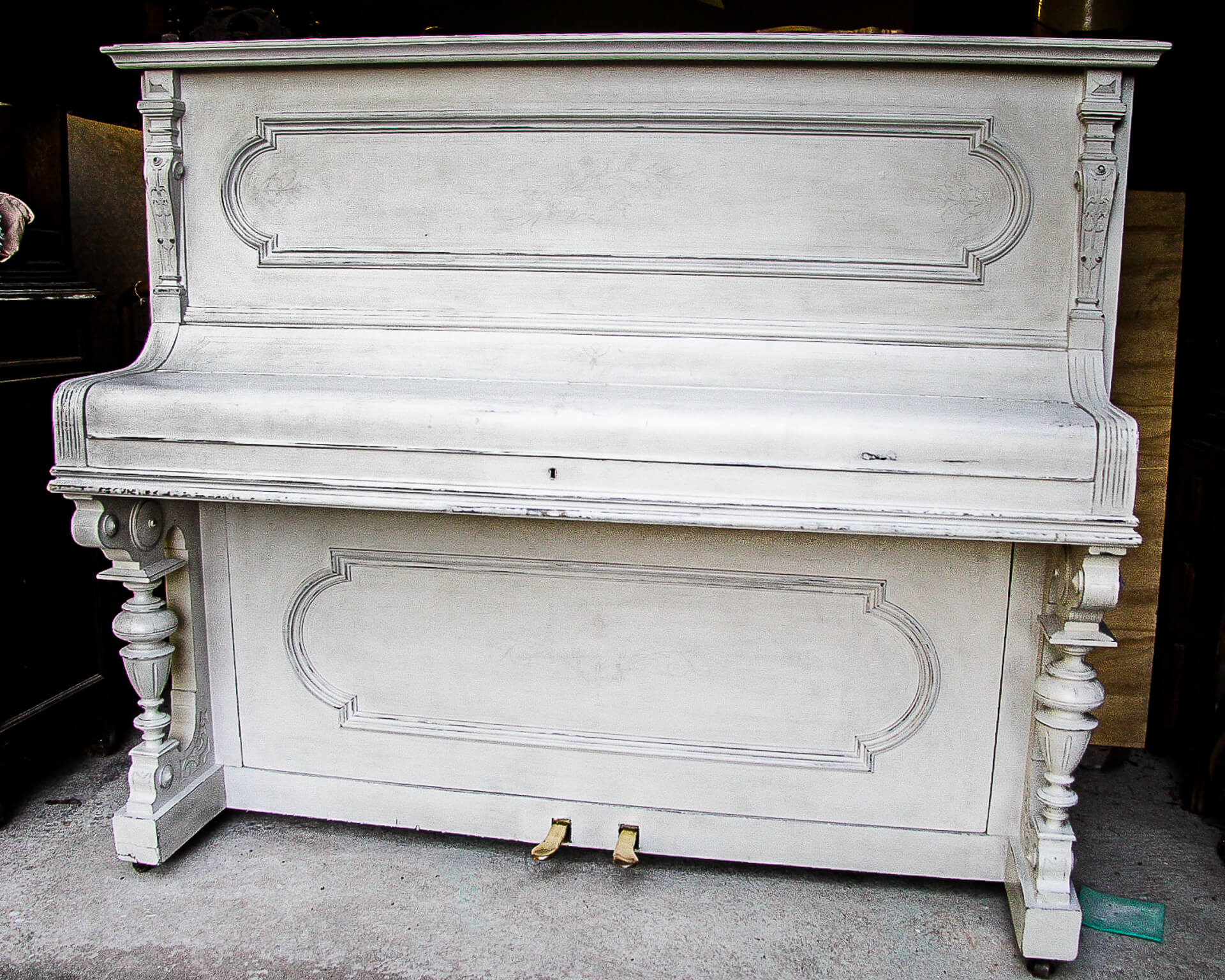 Front View Of A Hand Painted Vintage Piano