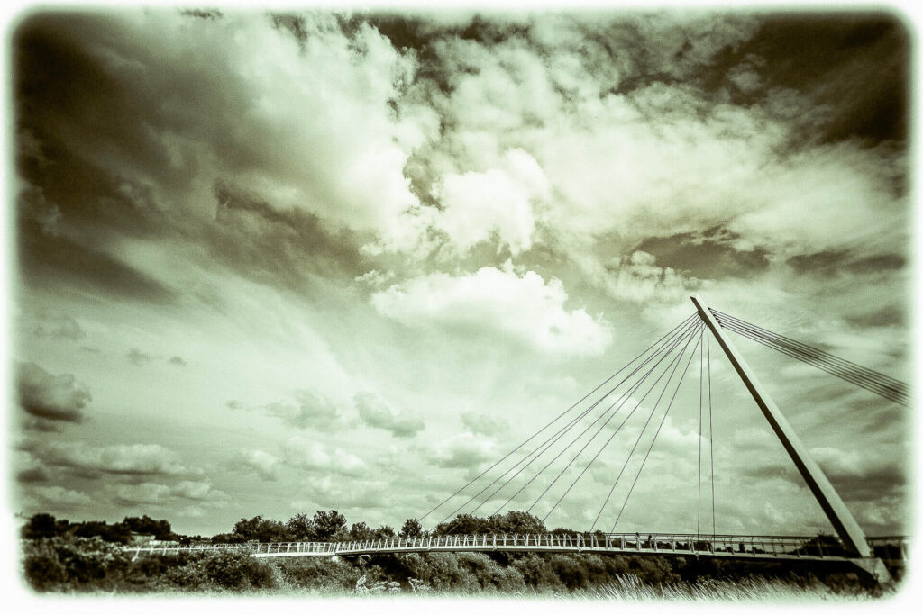 A moody cloudy sky above Diglis Bridge, Worcester, UK.